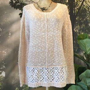 Olivia Sky Slub Sweater Daisy Lace Details Hi Lo